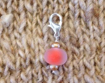 Handmade Lampwork Orange glow Charm, Planner Charm, Stitch Marker, Filofax, Phone Charm, Zipper Pull