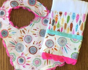 Cream and Hot Pink Dream Catcher Minky Baby/Toddler Bib and Burp Cloth Set