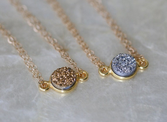Druzy Necklace, Gold Druzy Necklace, Minimal Necklace, Layering Necklace, Short Necklace, Sparkly Necklace