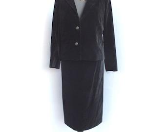 Vintage Two Piece Black Velvet Suit, Hand or Custom Made Suit, Ladies Business Suit, Maria Pinazrrone