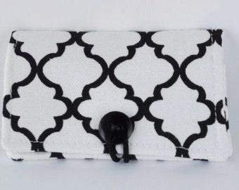 Fabric Business Card Holder Black and White Lattice