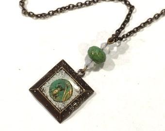 SALE Tiny Framed Frog on brass chain Necklace