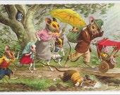 Mainzer mice postcard, Dressed mouse family caught in rain Mainzer, dressed animals vintage postcard