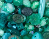 100 Grams Assorted Shapes and Sizes Czech Glass - Sea Green Mix (PG98000-1364)