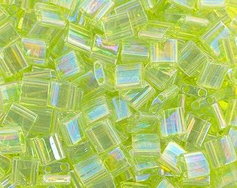 10 Grams Japanese Miyuki Tila Beads-Chartreuse Transparent AB (TL258)