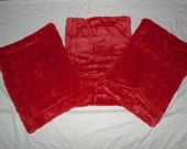 """3 Red Fleece Dog Crate Pads 