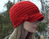 Red Cadet Hat,  Womens Military Cap with Bow, Crochet Hat with Visor, Hats for Women, Gift for Her