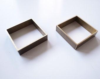 5 pcs cut raw brass charm in square box shape 32 x 32 x8mm