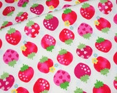 "Strawberry print Half meter 50 cm by 106 cm or 19.6"" by 42"" medium  weight    (n321)"