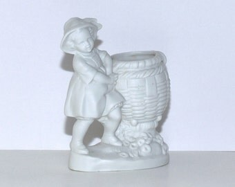 Antique German White Bisque Girl with a Basket Vase Planter