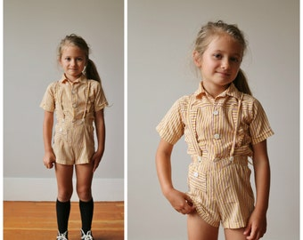1940s Mustard Striped Sunsuit & Top >>> Size 3t