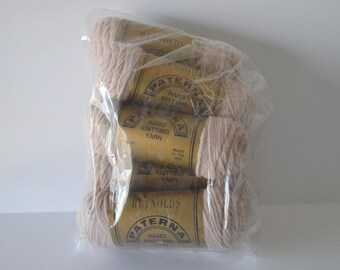 Reynolds Paterna Yarn Lot 100% Virgin Wool Destash 9 skeins 50 gram Color 171 Beige Vintage Yarn