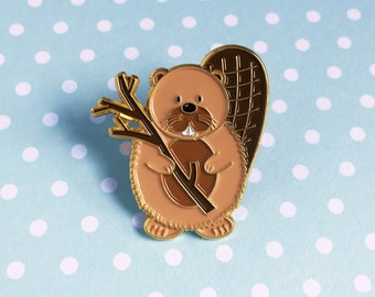 Beaver Enamel Pin - Canada animal woodland cute cartoon lapel