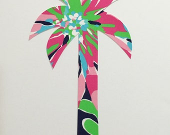 New Made To Order PALM TREE silhouette pilloww made with Lilly Pulitzer Sippin and Trippin fabric