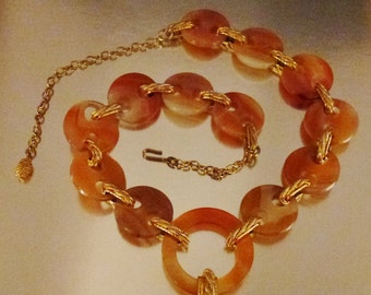NODERNE AGATE Necklace  Chunky Sculptural  Round   Goldtone 32 in long 2 in wide Jewelry