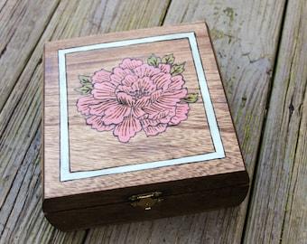 Woodburned Flower Box