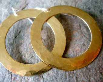 Gold Brass and Sterling Silver Large Circle Earrings - Brass Rings on Sterling Silver Earwires