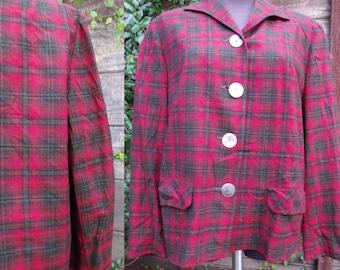Vintage Red Plaid Jacket, Pendleton Wool Coat, Woman's Vintage Plaid