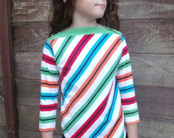 Vintage 80's Girls Striped Shirt, roller Girl 80's Top, size 7-8