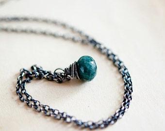 Emerald Necklace, May Birthstone, Emerald Pendant, Gemstone Jewelry, Green Pendant, PoleStar, Anniversary Gift