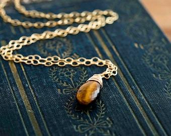 Tigers Eye Necklace, Tigers Eye, 14K Gold Filled, Caramel, Brown, Gemstone Necklace, Gemstone Pendant, Gold Jewelry, Gold Necklace, PoleStar