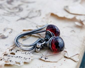 Garnet Earrings, Drop Earrings, Wire Wrapped, Garnet Jewelry, January Birthstone, Dark Red, Dangle Earrings, Sterling Silver, PoleStar