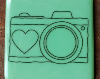 Coaster - Fused glass - Camera - mint green