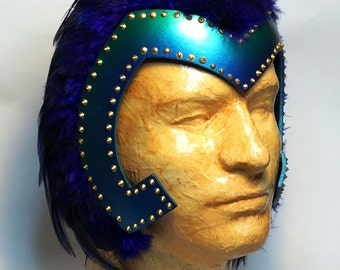SALE- Mardi Gras, Adult Halloween costume, feathered headdress, teal, blue and gold - fast shipping