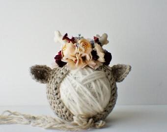 Flower Bonnet, Floral Bonnet, Garden Bonnet, Reindeer Bonnet, Sitter Bonnet, Christmas Bonnet, Baby Photo Prop, Newborn Photo Prop,