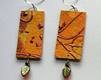 Yellow and copper earrings in paper with Czech glass leaves