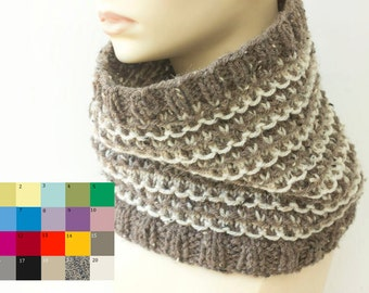 Hand Knit Cowl Scarf, Custom Scarf, Chose Colors, Neck Warmer, Vegan Circle Scarf, Winter Neckwarmer, Woman's Scarf, Infinity Scarf