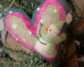Snowman Heart Ornament Needle Felted Prim Snowman Heart Felted on Burlap #1055