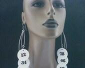 Unique Black and White Casino Chip Earrings, Embellished Number, Long Earrings, Plastic Earrings, Large Earrings, Womens Earrings
