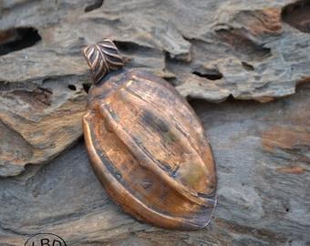 Handmade Large Copper Shell Pendant Focal