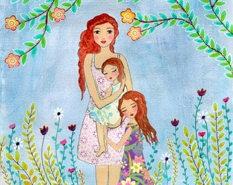 Redhead Mother Painting, Mother and Two Daughters Painting Art Print, Nursery Wall Art Print, Mother and Child Painting, Mother's Gift