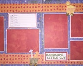 HANDSOME LITTLE GUY 12 x 12 premade scrapbook layout - Baby Boy Layout