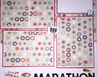 Premade Scrapbook Page - 12 x 12 Scrapbook Page Marathon Runner Running