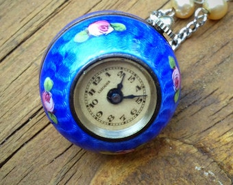 1920s Swiss C. Bucherer Enamel and Silver Ball Orb Pendant Working Watch Necklace