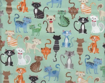 Makower UK Crafty Cats Cat Collage - Half Yard