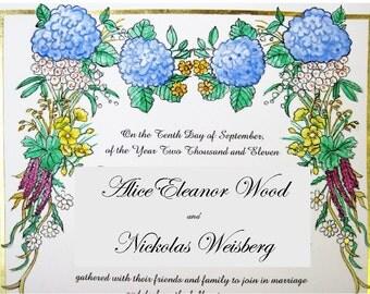 Wildflowers- Quaker Marriage Certificate