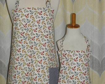 Anchors Away Nautical Mommy and Me matching Apron Set for Adult & Child
