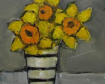 ORIGINAL Daffodils Still Life  Floral Flower 6 x 6 oil on panel Colette Davis