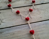 long velvet hearts lariat necklace // contains nickel // red heart necklace // silver lariat necklace // valentine's day jewelry // HEY020