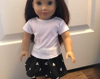 18 inch Doll Skirt Black & White Mickey Silhouette Print