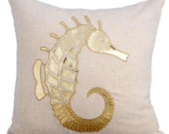 Natural Linen Decorative Throw Pillow Covers Accent Pillow Couch Linen Pillow Case 16x16 Gold Leather Applique Pillow Cover Gold Sea Horse