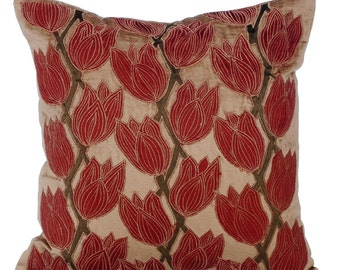 Decorative Throw Pillow Covers Accent Pillow Couch Toss Sofa Pillow 16x16 Pearl & Rust Velvet Applique Pillow Blooming Tulips