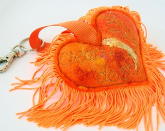 Create Your Destiny - Orange Love Heart Keyfob - A special handmade felt tassle keyring or bag charm with fringe. Affirmation. Sacral Chakra