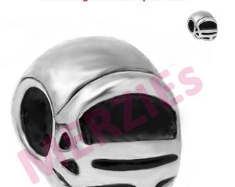 MERZIEs oxidized silver European metal charm large hole FOOTBALL HELMET spacer chain bead - Combined Shipping