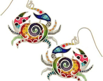 "MERZIEs sterling silver CRAB ocean sea beach pink purple red yellow blue green black multi color dangle ~1-1/4"" earrings - SHIPs from USA"