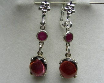 Genuine Ruby and Garnets in Sterling Silver Dangles